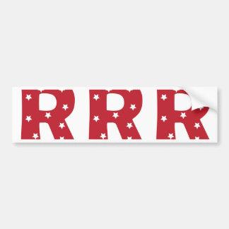 Letter R - White Stars on Dark Red Bumper Sticker