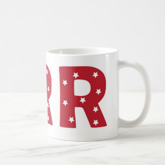Letter R - White Stars on Dark Red Coffee Mug