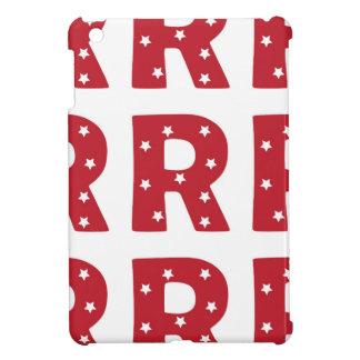 Letter R - White Stars on Dark Red Case For The iPad Mini