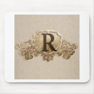 LETTER R WITH GOLDEN DESIGN MOUSE PAD