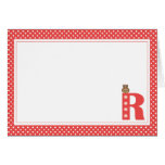 Letter R with Owl Blank Note Card