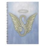 Letter S Angel Monogram Spiral Notebooks