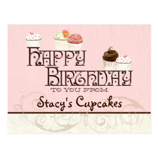 Letter S Happy Birthday Cupcake Business Postcard