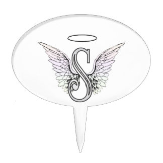 Letter S Initial Monogram with Angel Wings & Halo Cake Topper