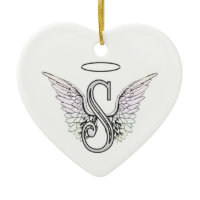 Letter S Initial Monogram with Angel Wings & Halo Christmas Ornament