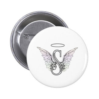Letter S Initial Monogram with Angel Wings & Halo Pinback Button