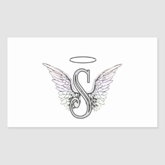 Letter S Initial Monogram with Angel Wings & Halo Rectangular Stickers