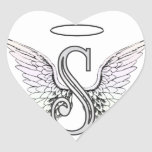 Letter S Initial Monogram with Angel Wings & Halo Stickers