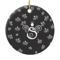 Letter S Initial Monogram with Angels Christmas Ornaments