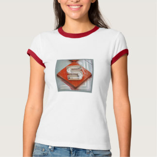 Letter S Ladies Ringer Tshirt