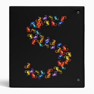 Letter S made out of colorful seahorse graphics 3 Ring Binder