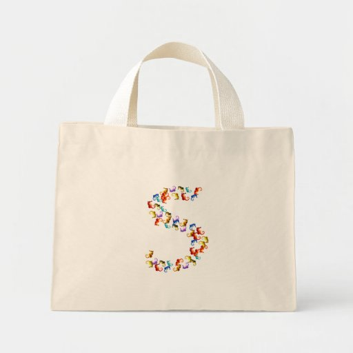 Letter S made out of colorful seahorse graphics Canvas Bags