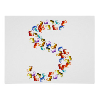 Letter S made out of colorful seahorse graphics Poster