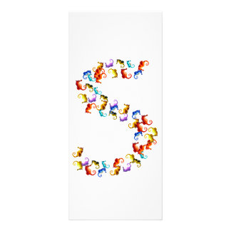 Letter S made out of colorful seahorse graphics Rack Card
