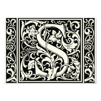 Letter S Medieval Monogram Vintage Initial Card
