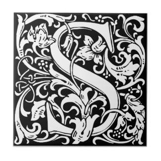 Letter S Medieval Monogram Vintage Initial Ceramic Tile