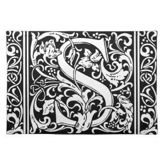 Letter S Medieval Monogram Vintage Initial Cloth Placemat