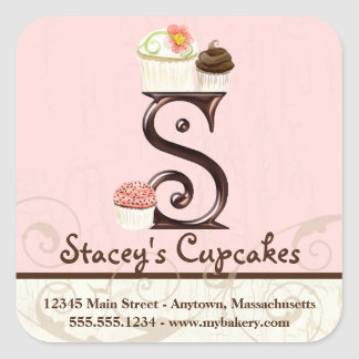 Letter S Monogram Cupcake Logo Business Stickers