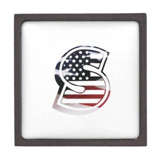 Letter S Monogram Initial Patriotic USA Flag Keepsake Box