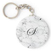 Letter S monogram Marble texture Keychain