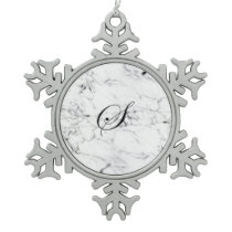 Letter S monogram Marble texture Snowflake Pewter Christmas Ornament