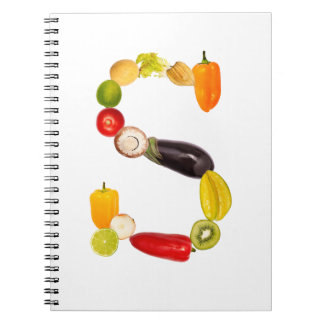 "letter ""s"" of fruits and vegetables libro de apuntes con espiral"