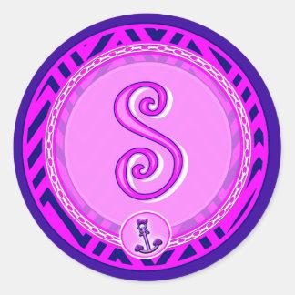 Letter 'S' Pink Nautical Chevron w/ Anchor  - Classic Round Sticker
