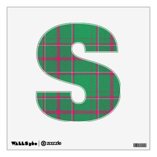 letter S rock punk tartan plaid vintage rockabilly Wall Decal