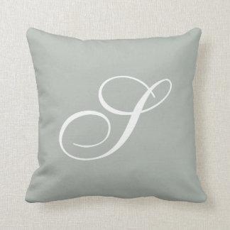 Letter S Silver Gray Monogram Pillow