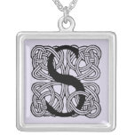Letter S Vintage Celtic Knot Monogram Silver Plated Necklace