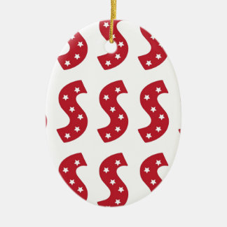letter s white stars on dark red ceramic ornament