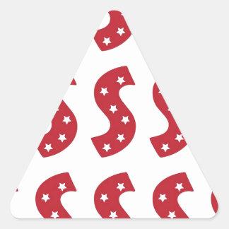 Letter S - White Stars on Dark Red Triangle Sticker