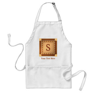 Letter S: Wood Look Initial with Custom Text Adult Apron