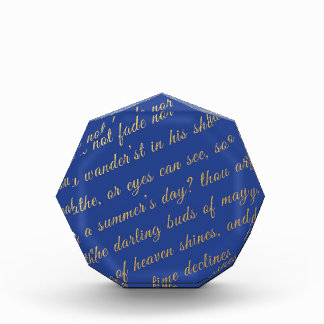 Letter Script Faux Gold Typography Poetry Blue Award