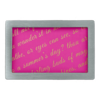 Letter Script Faux Gold Typography Poetry Hot Pink Belt Buckle