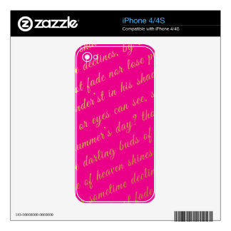 Letter Script Faux Gold Typography Poetry Hot Pink iPhone 4 Skin