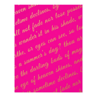 Letter Script Faux Gold Typography Poetry Hot Pink Letterhead