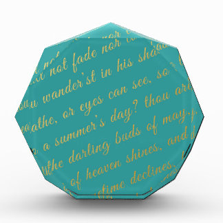 Letter Script Faux Gold Typography Poetry Teal Award