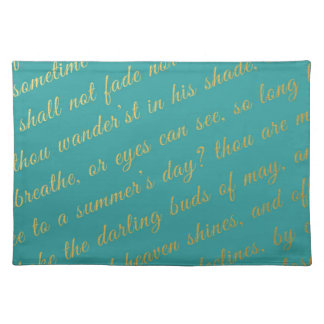 Letter Script Faux Gold Typography Poetry Teal Cloth Placemat