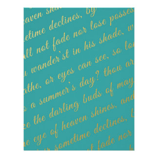 Letter Script Faux Gold Typography Poetry Teal Letterhead
