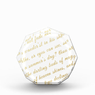 Letter Script Faux Gold Typography Poetry White Award