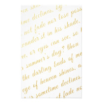 Letter Script Faux Gold Typography Poetry White Stationery