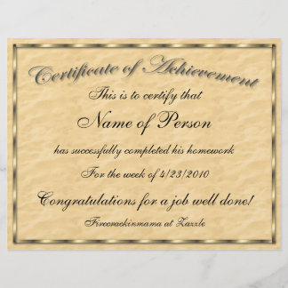 Letter Size Certificate of Achievement