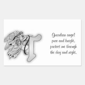 Letter T angel monogram alphabet initial Rectangular Sticker
