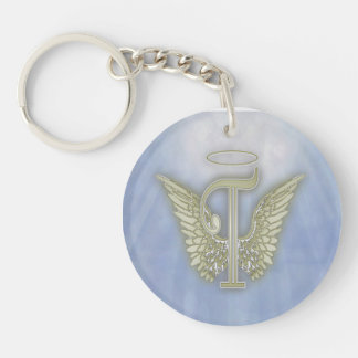 Letter T Angel Monogram Double-Sided Round Acrylic Keychain