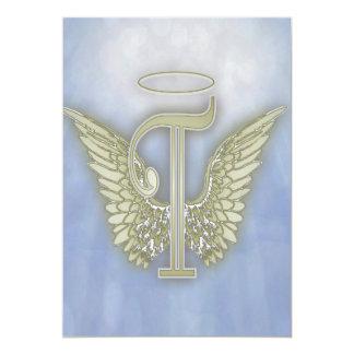 Letter T Angel Monogram Invitations