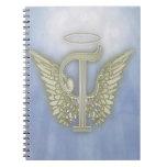 Letter T Angel Monogram Notebooks