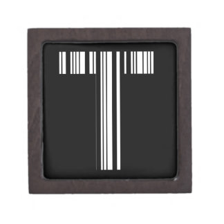 LETTER T BAR CODE First Initial Barcode Pattern Jewelry Box