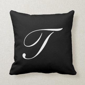 Letter T Black Monogram Pillow
