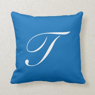 Letter T Blue Monogram Pillow